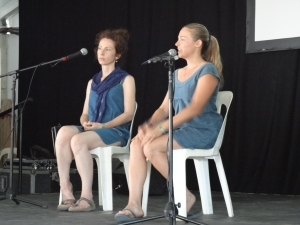 Kathleen and I presenting at the Woodford Folk Festival's Blue Lotus stage.