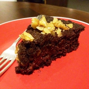choc-beet cake slice